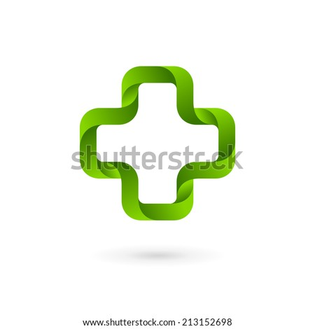 Medical logo icon design template with cross and plus. Vector sign. - stock vector