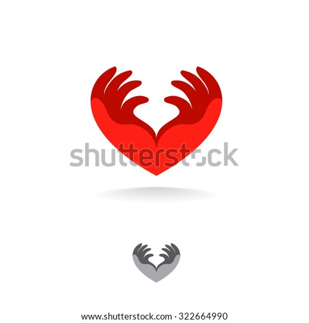 Medical logo template heart from the hands. Vector icon. - stock vector