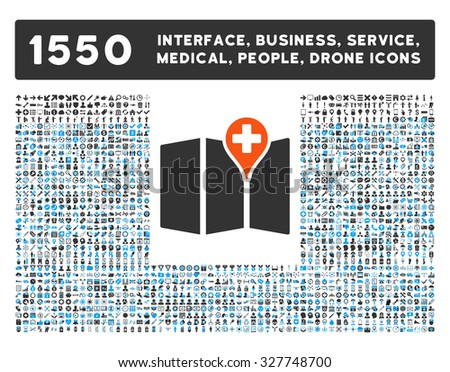 Medical Map and other web interface, business tools, people poses, medical service vector icons. Style is flat symbols, bicolored, rounded angles, white background. - stock vector