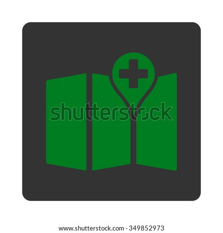 Medical Map vector icon. Style is flat rounded square button, green and gray colors, white background.