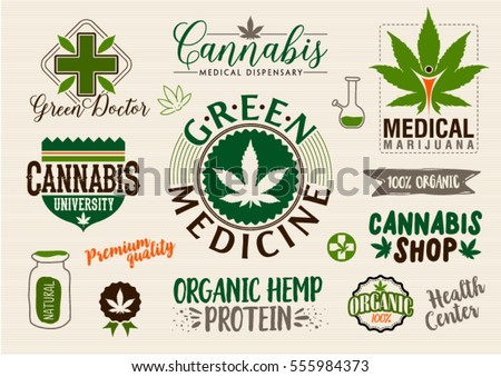 Medical Marijuana Product Label Logo Graphic Stock Vector Royalty