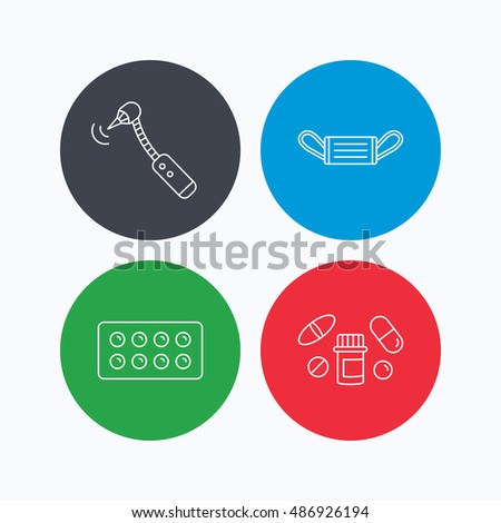 Medical mask, pills and drilling tool icons.