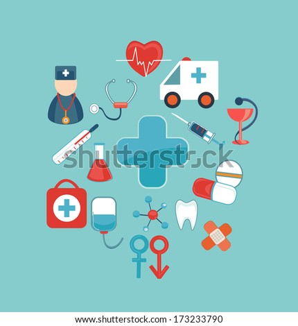 Medical mobile UI applications graphic user interface flat icons set. Medical concept. Flat design vector illustration.