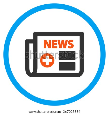 Medical Newspaper vector icon. Style is flat circled symbol, orange and blue colors, rounded angles, white background. - stock vector