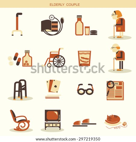 Medical objects and equipments for pensioners life.Vector symbol and icons  - stock vector