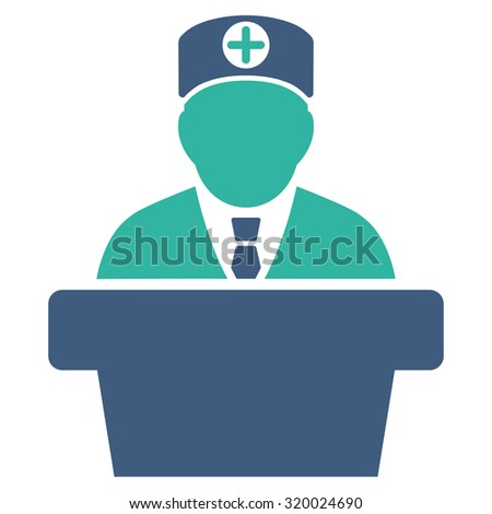 Medical Official Lecture vector icon. Style is bicolor flat symbol, cobalt and cyan colors, rounded angles, white background.