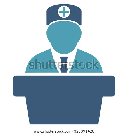 Medical Official Lecture vector icon. Style is bicolor flat symbol, cyan and blue colors, rounded angles, white background.