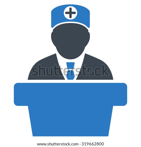 Medical Official Lecture vector icon. Style is bicolor flat symbol, smooth blue colors, rounded angles, white background.