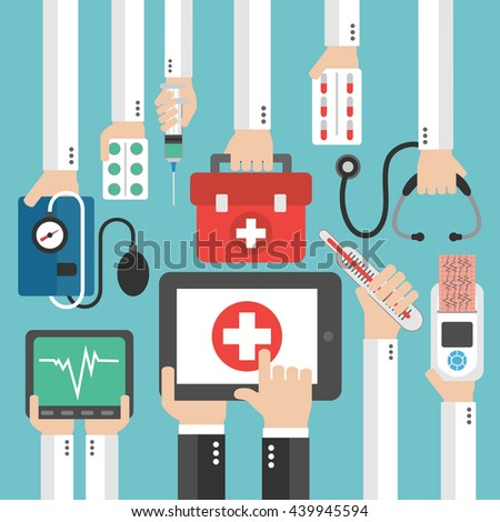 Medical online diagnostics concept design flat.Vector illustration