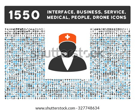 Medical Operator and other web interface, business tools, people poses, medical service vector icons. Style is flat symbols, bicolored, rounded angles, white background.