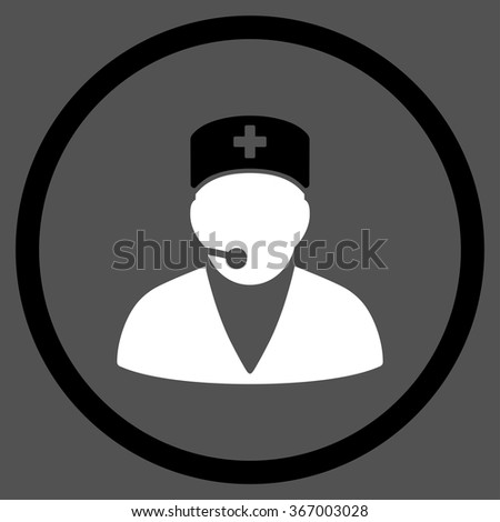 Medical Operator vector icon. Style is bicolor flat circled symbol, black and white colors, rounded angles, gray background. - stock vector