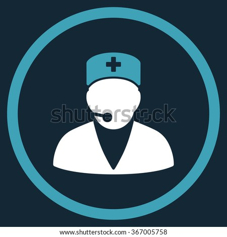 Medical Operator vector icon. Style is bicolor flat circled symbol, blue and white colors, rounded angles, dark blue background. - stock vector