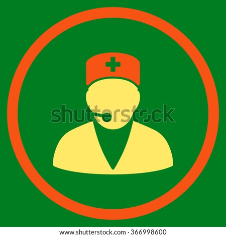 Medical Operator vector icon. Style is bicolor flat circled symbol, orange and yellow colors, rounded angles, green background. - stock vector
