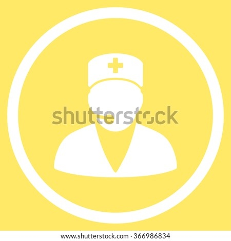 Medical Operator vector icon. Style is flat circled symbol, white color, rounded angles, yellow background. - stock vector