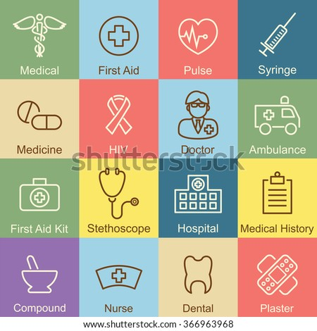 medical outline design, vector infographic elements - stock vector