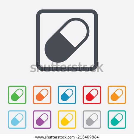 Medical pill sign icon. Drugs symbol. Round squares buttons with frame. Vector