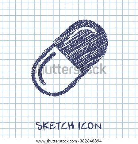 medical pill vector doodle icon. Sketch illustration