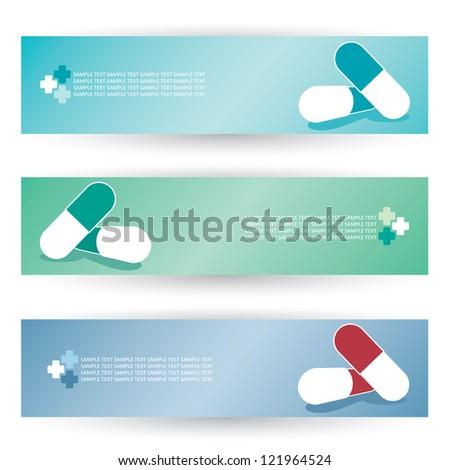 Medical pills headers - vector illustration - stock vector