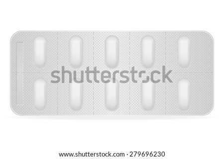 medical pills in package for treatment vector illustration isolated on white background - stock vector