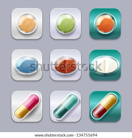 Medical pills set, different colors vectors collection. Apps icons - stock vector