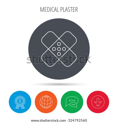 Medical plaster icon. Injury fix sign. Globe, download and speech bubble buttons. Winner award symbol. Vector - stock vector