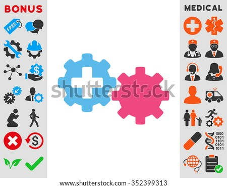 Medical Process vector icon. Style is bicolor flat symbol, pink and blue colors, rounded angles, white background.