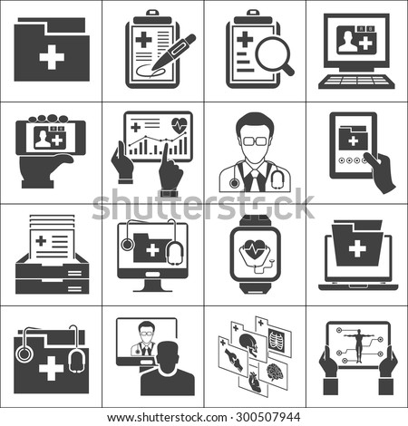 medical record icons sett - stock vector