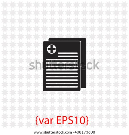 Medical records icon. Medical records vector. Simple icon isolated on gray background. - stock vector