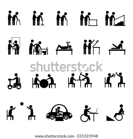 medical rehabilitation activity in elderly and person with disability icon set - stock vector