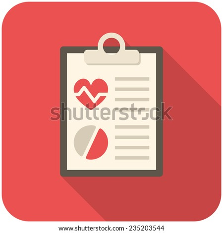 Medical report, modern flat icon with long shadow - stock vector