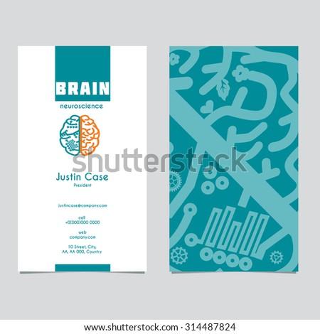 Medical Science business card vector template with Human Brain hemispheres vector icon. Brain sign design for Neuroscience & Medicine. Creative & analytical brain division scheme. Layered, editable - stock vector