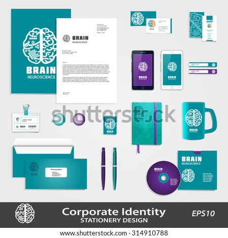 Medical Science business identity set template with Human Brain hemispheres vector icon. Brain sign design for Neuroscience & Medicine. Creative & analytical brain division scheme. Layered, editable - stock vector