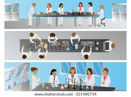 Medical Scientists, Laboratory Research, Different View Set - Vector Illustration, Graphic Design Editable For Your Design - stock vector