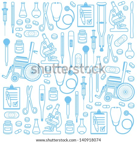 Medical seamless pattern - stock vector