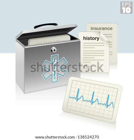 Medical security box with medical history, ecg, and insurance documents, protected patient information. - stock vector