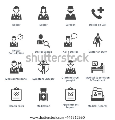Medical Services Icons Set 3 - Black Series - stock vector
