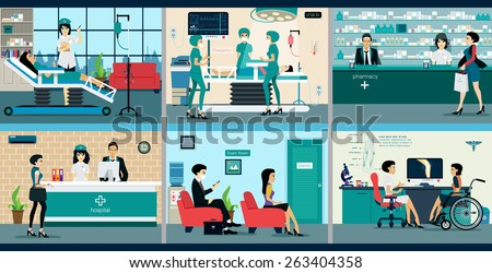 Medical services with doctors and patients in hospitals. - stock vector