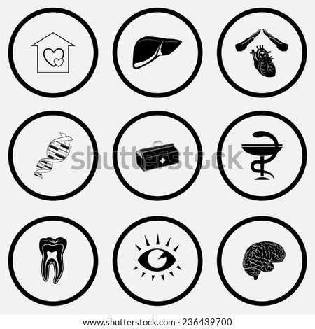 Medical set. Black and white set vector icons. - stock vector