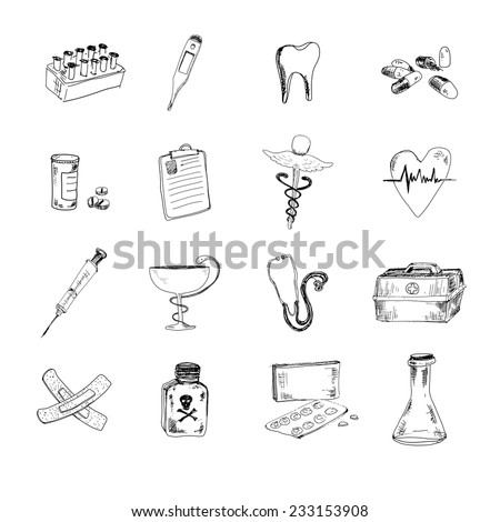 Medical set. Hand drawn doodle graphic illustrations - stock vector