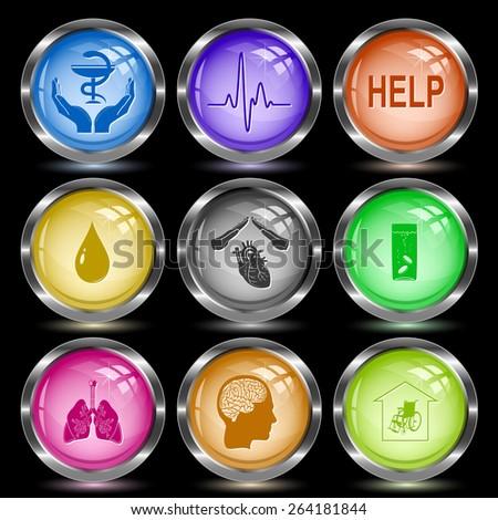Medical set. Internet button. Vector illustration. - stock vector