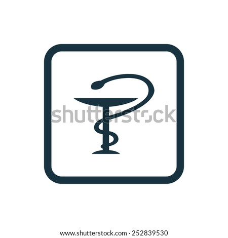 medical sign icon Rounded squares button, on white background  - stock vector