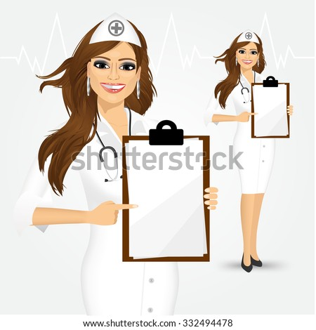 Medical sign. Young woman doctor or nurse showing empty blank clipboard sign with copy space for text and pointing at it isolated over white background - stock vector