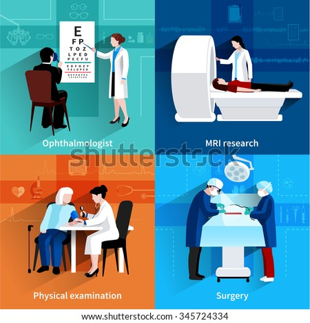 Medical specialists mri scan 4 flat icons square composition with operation room surgery abstract isolated vector illustration - stock vector