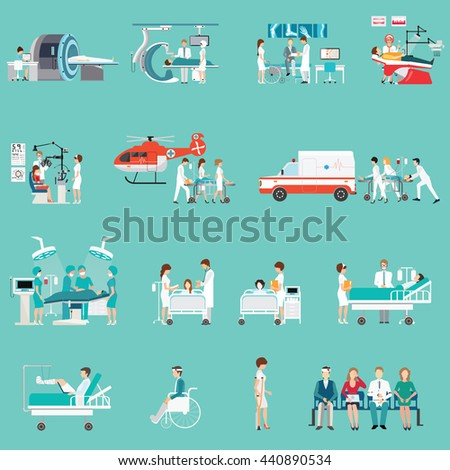 Medical Staff And Patients Different character in hospital, clinic, people cartoon character isolated on background, health care conceptual vector illustration. - stock vector