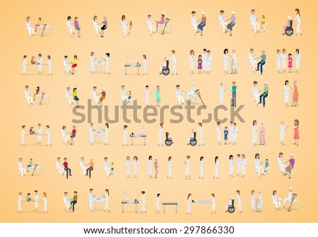 Medical Staff And Patients Different Situations - Isolated On Background - Vector Illustration, Graphic Design Editable For Your Design - stock vector