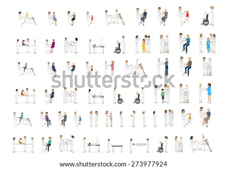 Medical Staff And Patients Different Situations - Isolated On White Background - Vector Illustration, Graphic Design Editable For Your Design