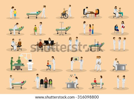 Medical Staff And Patients Different Situations Set - Isolated On Background - Vector Illustration, Graphic Design Editable For Your Design  - stock vector