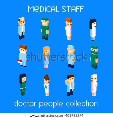 Medical Staff Doctor People Group Set Collection 3d Isometric Flat Design Vector Illustration - stock vector
