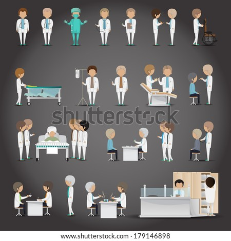 Medical Staff - Isolated On Black Background - Vector Illustration, Graphic Design Editable For Your Design - stock vector