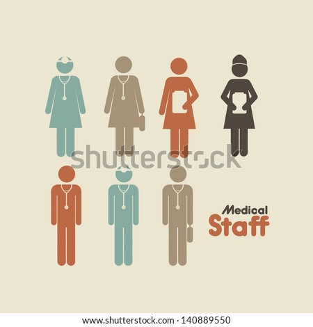 medical staff over cream background vector illustration - stock vector